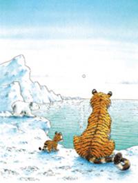 10er Set Postkarten, Kleiner Eisbär; Mit Tiger am Meer