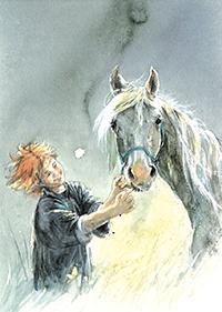 10er Set Postkarten, Kind mit Pferd
