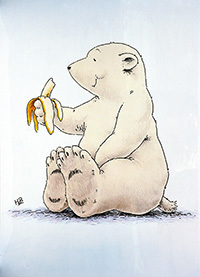 Poster, Kleiner Eisbär mit Banane