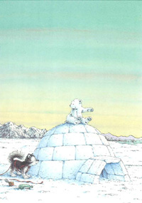 10er Set Postkarten, Kleiner Eisbär auf Iglu