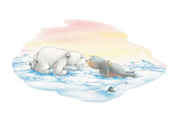10er Set Postkarten, Kleiner Eisbär; Ich mag dich
