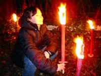 Wachsfackel, 50 cm, Brenndauer ca. 60 min, rot