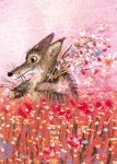 10er Set Postkarten, Blumen-Wolf