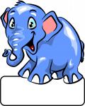 Elefant blau - Geburtstafel