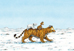 10er Set Postkarten,  Kleiner Eisbär, Tigerritt