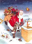 Adventskalender, Weihnachtsmann auf dem Dach