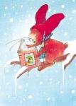 10er Set Postkarten, Pauli liest im Schnee