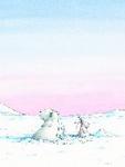 Poster, Kleiner Eisbär und Angsthase verirrt